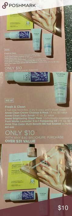 Fresh&clean 2 full-size favorites, 2 try-it size and 1 sheet mask :( Anew clean cream cleanser&mask 1fl .oz ,$5value), (anew clean daily scrub 1fl oz . $5 value) ,(anew brightening sheet mask 1 individually-wrapped sheet, $7.50 value) ,(foot works lavender 3-in-1 pampering oil 2fl oz .$6 value),(Avon true color multi benefit BB nail Enamel in perfect pink,4fl oz ,$8 value (827-445) only 10 with any $40 Brochure purchase (over $31value ) Avon Other