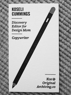 Letter pressed, black and white business card for Koseli Cummings by Keenan Cummings. Printed @MandatePress