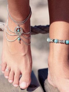 High Quality Boho Ethnic Turquoise Beads Anklets Chic Tassel Foot Chain Anklet Bracelet Body Jewelry Anklets For Women Anklet Jewelry, Anklet Bracelet, Boho Jewelry, Fashion Jewelry, Chain Jewelry, Silver Jewelry, Feet Jewelry, Tassel Bracelet, Stone Jewelry