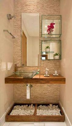 17 banheiros incríveis com acessórios e prateleiras de vidro Bad Inspiration, Bathroom Inspiration, Bathroom Interior, Interior Design Kitchen, Budget Bathroom, Bathroom Ideas, Bathroom Makeovers, Remodel Bathroom, Shower Remodel