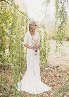1/2 sleeve modest wedding dress