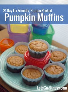 Pumpkin muffins that are 21-Day Fix friendly and packed with protein