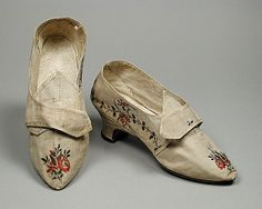 Pair of woman's shoes, France c.1775, silk plain weave with supplementary warp and weft float patterning and leather