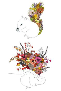 I've always been a fan of Chipmunk Cheeks' quirky flora & fauna illustrations and especially love these new ones. Art And Illustration, Floral Illustrations, Flora And Fauna, Graphic, Amazing Art, Illustrators, Design Art, Creations, Sketches