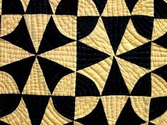 I love the quilting lines on this:  Detail, SPECTACULAR Antique Vintage  WINDING WAYS  Quilt Black & Yellow Solid Colors, eBay, akjrust
