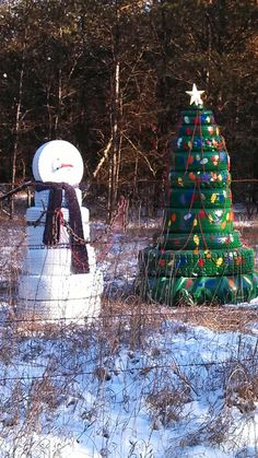 Recycling... Christmas style! Good use for old tires!