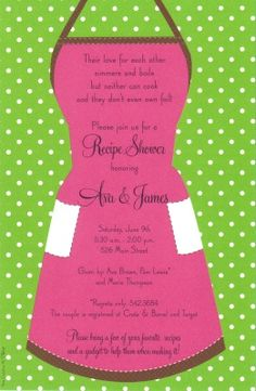 apron party ideas | retro apron invitation from inviting company a hot pink apron with ...