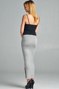 Basic Instinct Ankle Slit Skirt - Grey
