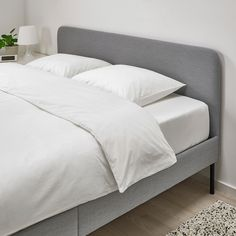 IKEA offers everything from living room furniture to mattresses and bedroom furniture so that you can design your life at home. Check out our furniture and home furnishings! Cama Ikea, Upholstered Bed Frame, Headboard And Footboard, Grey Bedding, Cotton Bedding, Luxury Bedding, Bedding Sets, Grey Bed Frame, Bed Slats