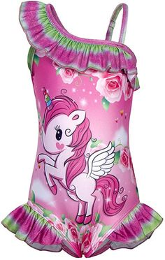 46ce5c54cefd6 $16 AmzBarley Girls Unicorn One Piece Bathing Suit Swimwear One Shoulder  Banded Ruffle Swimsuits Floral Beachwear