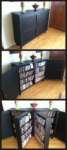 Dvd Storage Idea Living Room 25 Creative Hidden Storage Ideas for Small Spaces In 2020 Dvd Cabinets, Hidden Storage, Diy Dvd Storage, Dvd Storage Cabinet, Creative Storage, Movie Storage, Book Storage Small Space, Cabinet Space, Storage For Books