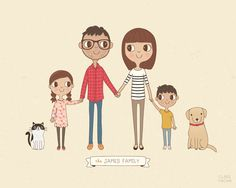 Custom Family Portrait Illustration | Personalised Digital Print 8x10 or A4 | Gift Idea