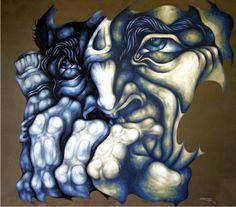 Ricardo Carpani Modern Art, Face Art, Drawings, Painting, Lion Sculpture, Surrealism, Art, Artsy, Color Lines
