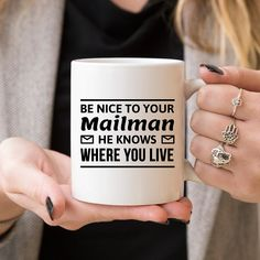 Amazon.com: Be Nice To Your Mailman - Funny Coffee Mug - Gift for Mailman - Mailman Coffee Mug - Mail Carrier Gifts - Post Carrier Gifts - Post Service Worker Gifts - Gifts For Mailman - Be Nice: Kitchen & Dining