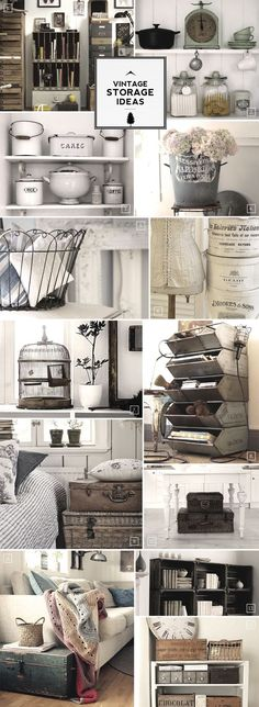Vintage storage ideas. Enamelware, jars with lids, shelves, drawers, tins, corset on dress form, cast iron, scale, trunks, white table, striped bedding, plants in pots, wooden boxes, birdcage, books, baskets, afghan, sofa, sofa pillows Style At Home, European Home Decor, Vintage Storage, Vintage Display, Home And Deco, My New Room, Home Fashion, Home Organization, Organizing Ideas