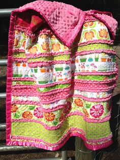 Baby girl rag quilt Lush by Patty Young by AddisonLynnCreations