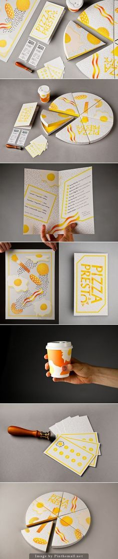 Graphic Design: Amanda Berglund's great identity for a breakfast pizza place. I don't know when the ROI gets into this complex branding packaging. Corporate Design, Brand Identity Design, Graphic Design Branding, Typography Design, Packaging Design, Lettering, Layout Design, Graphisches Design, Book Design