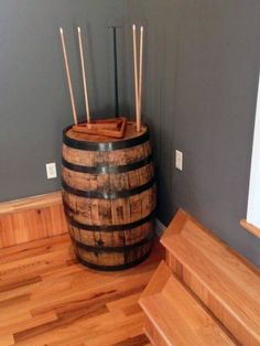 Cheap Man Cave Ideas For Men - Low Budget Interior Design Mens Cheap Man Cave Ideas Pool Cue Holder Wood BarrelMens Cheap Man Cave Ideas Pool Cue Holder Wood Barrel Man Cave Garage, Garage Game Rooms, Basement Games, Man Cave Basement, Basement Ideas, Basement Plans, Garage Man Cave Ideas On A Budget, Basement Pool, Basement Office