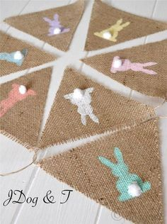 DIY burlap bunny banner - cute! Visit www.candlesandfavors.com for personalized invitations, thank you notes and party favors!!