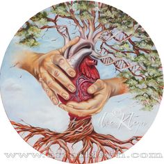 "Ilse Kleyn, The Father's Heart"", 100cm radius, oil on canvas. Jer 24:7, Jer 31:33, Eze 11:19, 2Co 3:18, Psa 1:3, Pro 11:30, Jer 17:8, Mat 7:18-20, Luk 13:19, Rev 2:7"