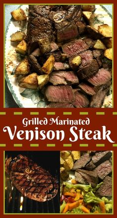 Marinated Venison Steak venison-steak-grilled-marinated tender and delicious with potatoes.venison-steak-grilled-marinated tender and delicious with potatoes. Venison Marinade, Cooking Venison Steaks, Venison Recipes, Grilling Recipes, Cooking Recipes, Meat Steak, Bbq Meat, Cooking Bacon, Barbecue Recipes