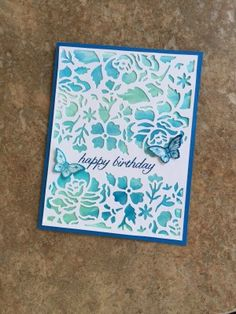 Stampin' Up! Detailed Floral Thinlits with watercolor wash background Handmade Birthday Cards, Happy Birthday Cards, Butterfly Cards, Flower Cards, Birthday Background Design, Stamping Up Cards, Watercolor Cards, Sympathy Cards, Creative Cards