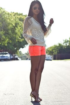 Beige Crochet Top, Layered over Tank Top | Orange Shorts | Large Aviator Sunglasses