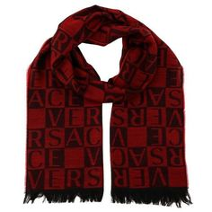 Versace IT00643 Rosso Red 100% Wool Mens Scarf, Men's, Size: 14in-72in
