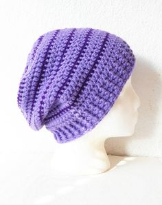 Striped Slouchy Beanie Hat in Lilac and Eggplant ready by luvbuzz