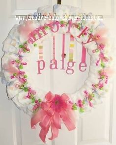 baby diaper wreath - I could make this, I love the letters