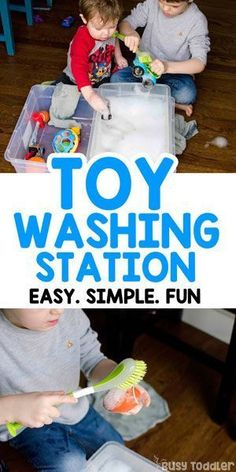 Looking for an easy activity? Try making a toy washing station! It's a quick and easy toddler activity! A great preschool sensory activity. A perfect rainy day indoor activity or take it outside for a great summer activity. Quiet Time Activities, Indoor Activities For Kids, Sensory Activities, Infant Activities, Sensory Bins, Sensory Play, Sensory Table, Toddler Play, Toddler Preschool