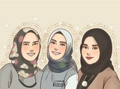 Best Friend Pictures Tumblr, Muslim Pictures, Sarra Art, Hijab Drawing, Hijab Cartoon, Cute Cartoon Wallpapers, Girly Pictures, Manga Illustration, Anime Art Girl