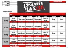 The workout plan which is popularly known as Insanity max 30 calendar in various fornats is given in thi article. Insanity Max 30 Schedule, Insanity Workout Calendar, Training Schedule, Workout Calender, Exercise Calendar, Exercise Schedule, Calendario Insanity, Beachbody Insanity, Workout Sheets