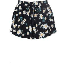 Black Daisy Print Drawstring Shorts (9.220 CRC) ❤ liked on Polyvore featuring shorts, multi, patterned shorts, elastic waist shorts, daisy print shorts, draw string shorts and short shorts