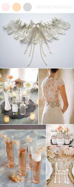 vintage romance ~ blush, silver & lace inspiration board