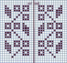 Crochet Chart, Filet Crochet, Crochet Stitches, Tunisian Crochet, Knitted Mittens Pattern, Knit Mittens, Cross Stitch Flowers, Cross Stitch Patterns, Knitting Charts