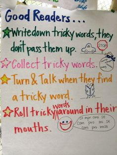 Tricky Words Anchor Chart