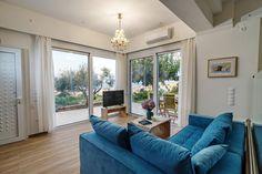 tv area cozy house blue jasmin in Rethymno