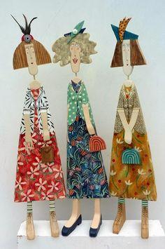 drewniane figury Lynn Muir czyli co można zrobić z  kawałków drewna  Tuchas con carteras