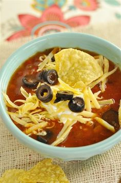 Crock Pot Tortilla Soup. The addition of the enchilada sauce makes this fantastic!