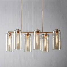 Shop glass cylinder chandelier from west elm. Find a wide selection of furniture and decor options that will suit your tastes, including a variety of glass cylinder chandelier. Mobile Chandelier, 3 Light Chandelier, Sputnik Chandelier, Rectangle Chandelier, Chandeliers, Chandelier Ideas, Kitchen Chandelier, Luxury Lighting, Home Lighting