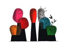 Dessin pour Fabbrica del vapore, vases pour Industreal, 2008, verre soufflé coloré et porcelaine, collaboration Guillaume Delvigne © Ionna Vautrin
