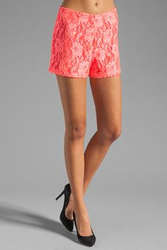 Try a pair of bright lace shorts on for size.