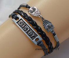 Sisters bracelet owl braceletGray wax rope by CountrystyleDIY, $2.99