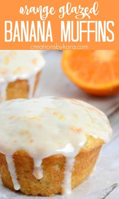 Everyone will love these Orange Banana Muffins. The sour cream glaze makes them extra tasty! A fun citrus twist on traditional banana muffins. #orangemuffins #orangebananamuffins #sourcreamglaze #bananamuffinrecipe -from Creations by Kara Delicious Breakfast Recipes, Best Dessert Recipes, Sweet Desserts, Holiday Recipes, Delicious Desserts, Yummy Food, Tasty, Best Bread Recipe, Quick Bread Recipes