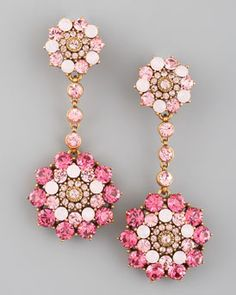 Oscar de la Renta  Rhinestone Drop Earrings, Pink and someplace fantastic to go to where they make me look incredible!