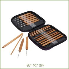 Costura 20pcs Crochet Hook Knitting Needle Bamboo Handle Aluminum Knit Needles Weave Yarn Craft Set with Case Sewing Accessories