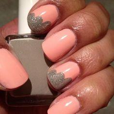 (nails,diy,nail art,pink,grey,glitter,cute)