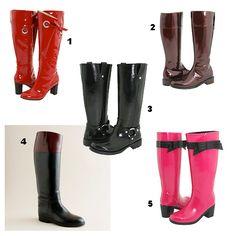 http://www.collegefashion.net  High Heeled rain boots.