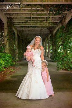 The bride and her daughters. #wedding #flowergirls #spiritcourtyard #jasmine #Florida #GrandOaksResort